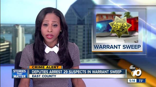 Deputies arrest 29 suspects in warrant sweep