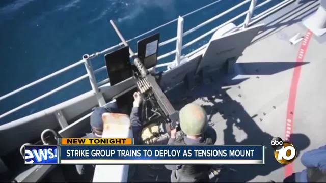 Strike group trains to deploy as tensions mount