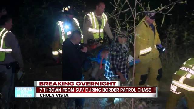 7 people thrown from SUV in Border Patrol chase