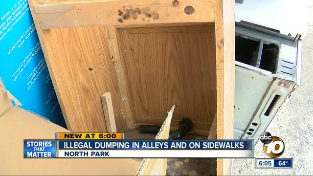 Illegal dumping on alleys and sidewalks