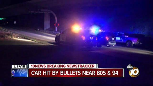 Report of shots fired at car near 805 and 94