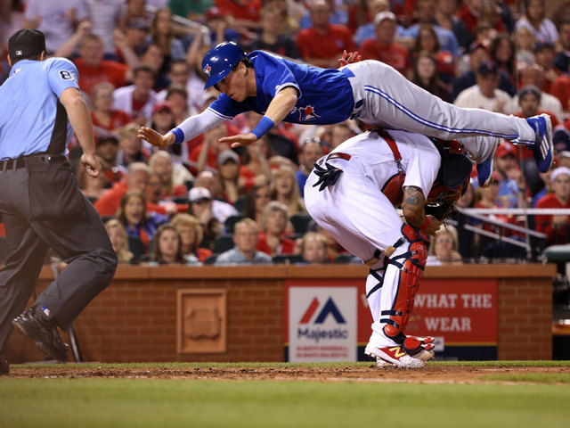 Coghlan's leap, Stroman's hit lift Blue Jays over Cards 6-5