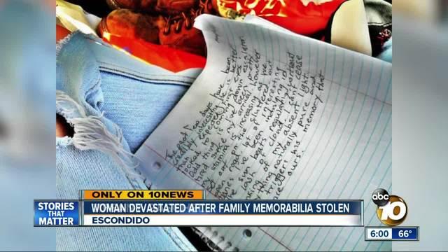 Woman devastated after family memorabilia stolen