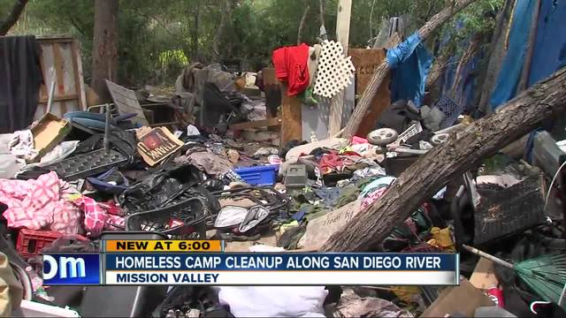Major homeless camp cleanup underway along San Diego River