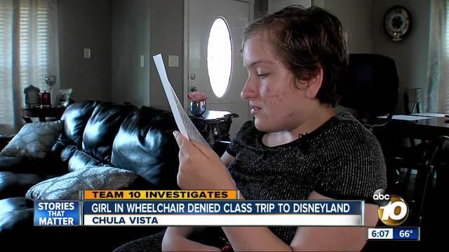 Girl in wheelchair denied class trip to Disneyland