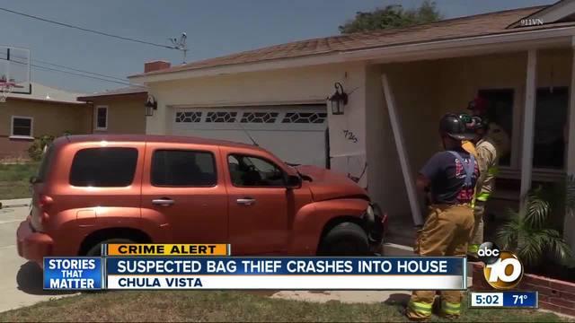 Suspected bag thief crashes into home