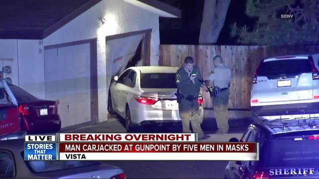 Men in masks carjack driver in Vista- lead pursuit