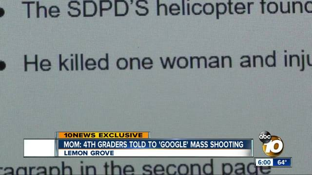 Mom- 4th graders told to -Google- mass shooting