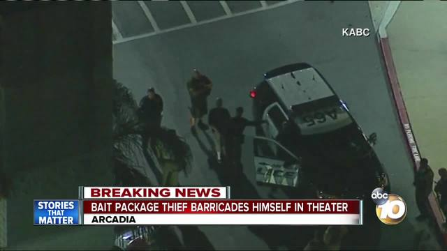 Suspected package thief in custody after chase, hiding in movie theater