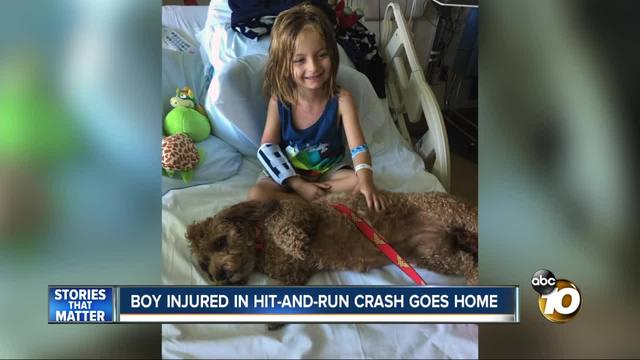 Boy injured in hit-and-run crash goes home
