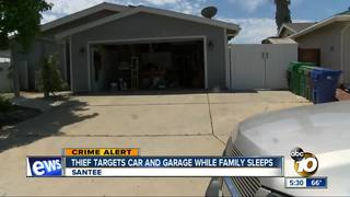 Thief targets car, garage while family sleeps