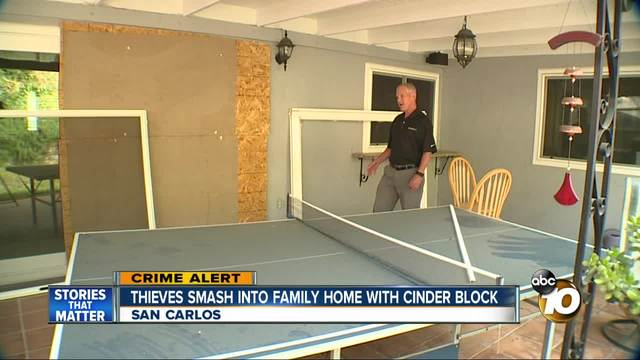 Thieves smash into home with cinder block