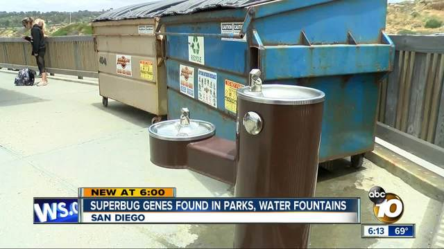 Superbug genes found in parks- water fountains