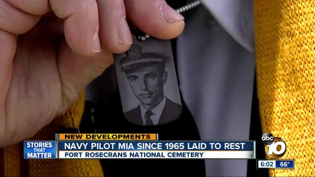 Local Navy pilot MIA since 1965 is buried in a touching and meaningful way