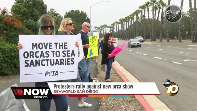Protesters rally outside Seaworld against new orca show