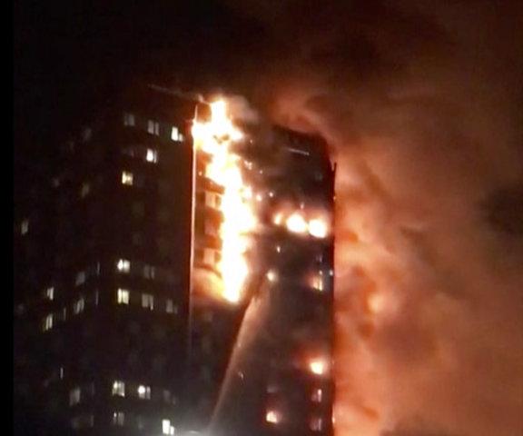 Firefighters battle massive blaze in London high-rise