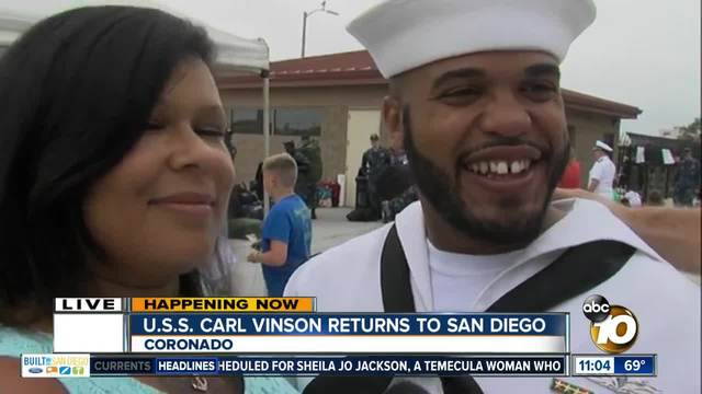 USS Carl Vinson sailor talks to 10News after returning to San Diego