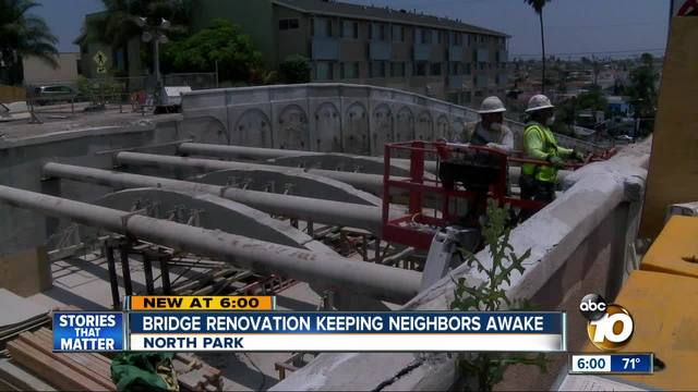 Bridge renovation is keeping neighbors awake