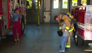 Firefighters help veteran surprise familiy