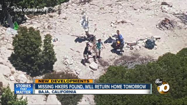 Missing hikers found- will return home tomorrow