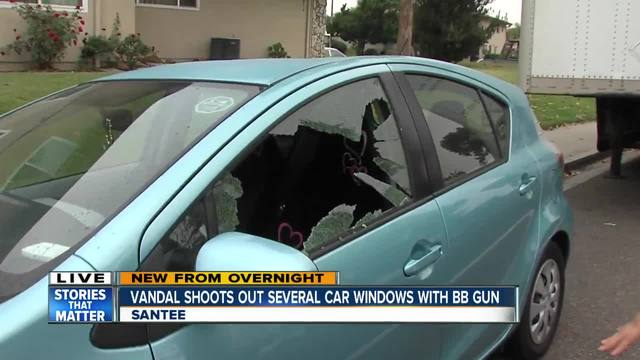 Vandal shoots out car windows with BB gun in Santee