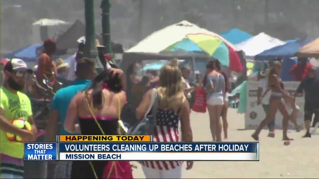 San Diego beach clean up following 4th of July celebrations