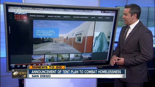 Announcement of tent plan to combat homelessness