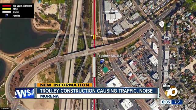 Trolley construction causing traffic- noise