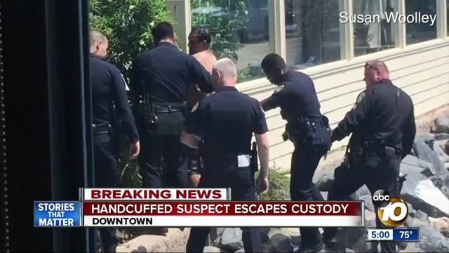 Handcuffed suspect escapes custody downtown