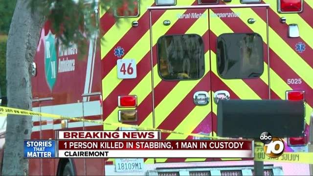 One in custody after Clairemont stabbing