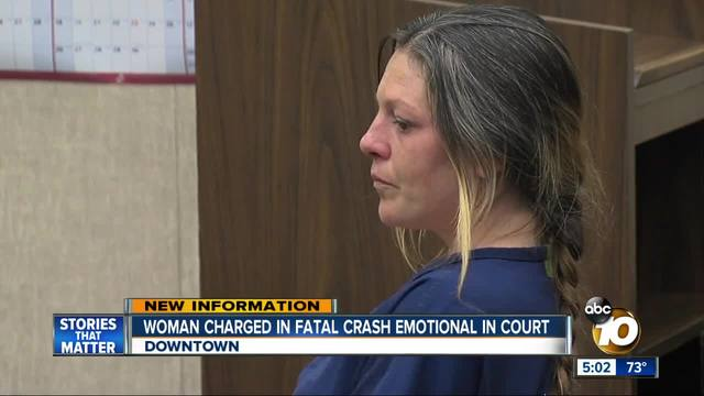 San Diego woman charged in fatal crash emotional in court