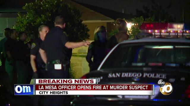 La Mesa officer opens fire on murder suspect