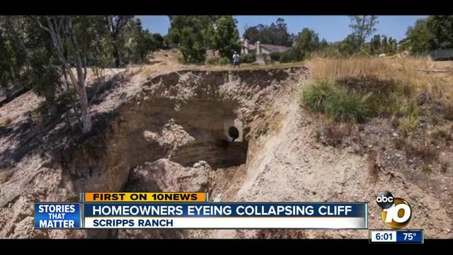 Scripps Ranch homeowners eyeing collapsing cliff