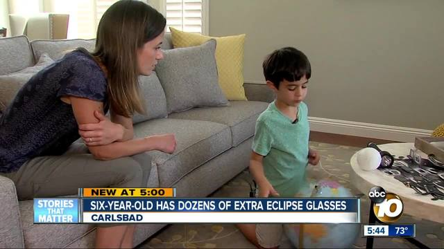 Carlsbad six-year-old has dozens of extra eclipse glasses