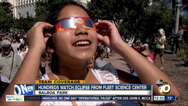Hundreds gather at Fleet Science Center to watch eclipse