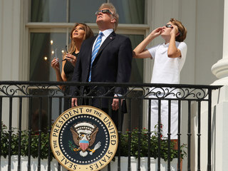 President Trump watches eclipse from White House