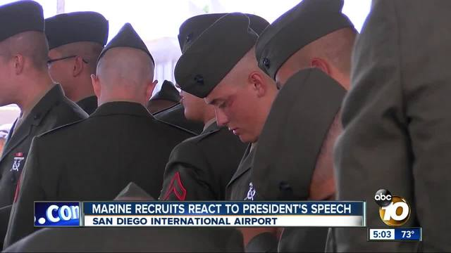 A day after President-s speech- Marine recruits head to Camp Pendleton
