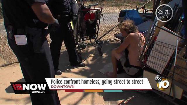 Police confront homeless living in East Village
