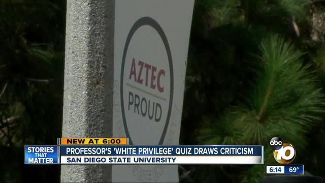 San Diego State professor-s -white privilege- quiz draws criticism