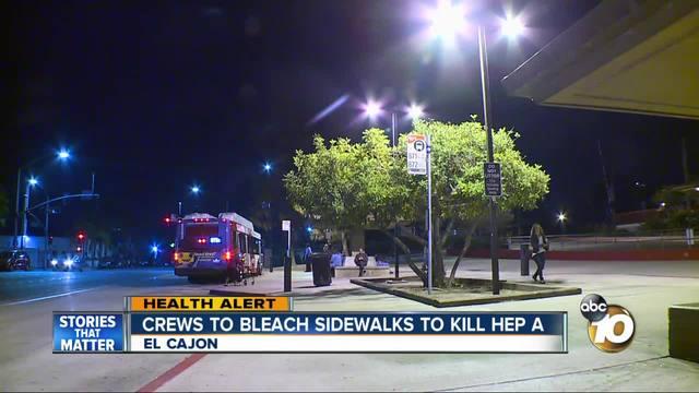 Crews to bleach sidewalks to help kill Hep A