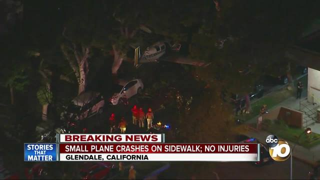 Small plane crashes on sidewalk- no injuries