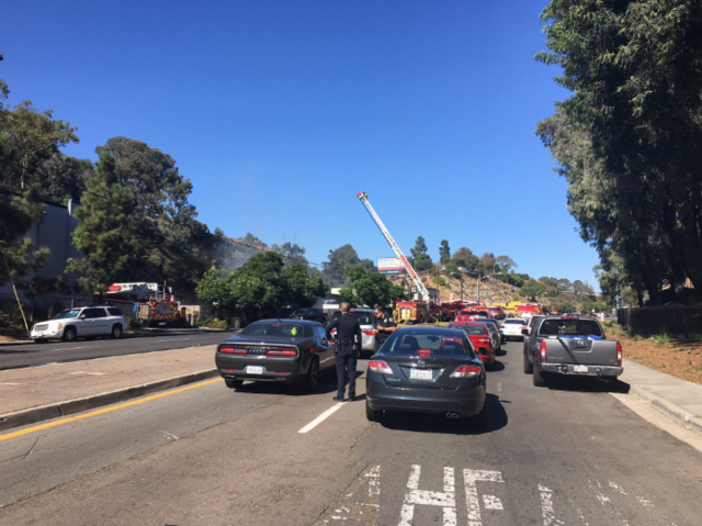 Explosion threat in Central San Diego fire