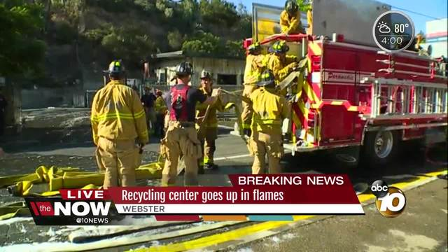 Recycling center goes up in flames