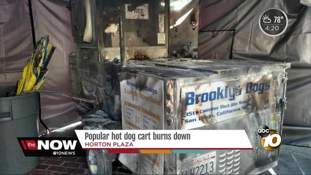 Popular hot dog cart burns down