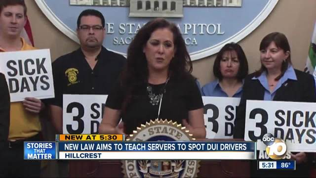 New Law Would Require Servers to Train to Spot DUI Drivers
