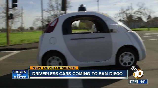 Driverless cars coming to San Diego