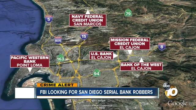 FBI looking for San Diego serial bank robbers