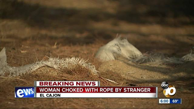 East County woman choked with rope by stranger