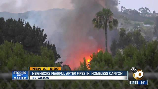 Neighbors fearful after fires in -homeless canyon-
