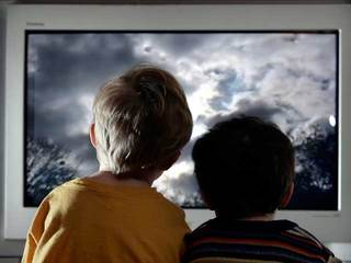 Children watching TV screen-10933